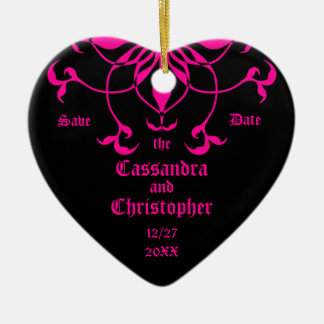 Hot pink flower on black save the date heart ceramic ornament