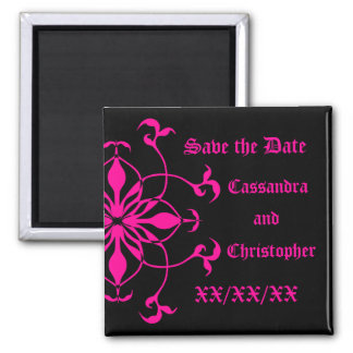 Hot pink flower on black save the date long names magnet