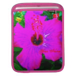 Hot Pink Flower Tropical Vacation Pop Art Graphic iPad Sleeves