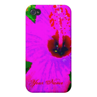 Hot Pink Flower Tropical Vacation Pop Art Graphic iPhone 4 Covers