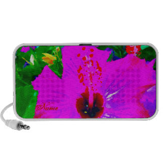 Hot Pink Flower Tropical Vacation Pop Art Graphic Portable Speaker