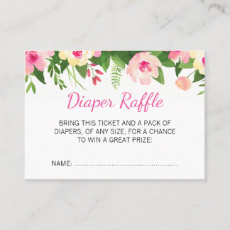 Hot Pink Flowers Baby Shower Diaper Raffle Ticket