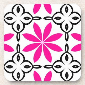 Hot pink flowers beverage coaster