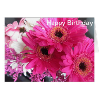 Hot Pink Flowers Happy Birthday Card