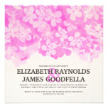 Hot Pink Flowers Wedding Invitations Announcements