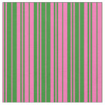 [ Thumbnail: Hot Pink & Forest Green Colored Lines Fabric ]