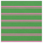 [ Thumbnail: Hot Pink & Forest Green Lines Fabric ]