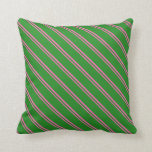 [ Thumbnail: Hot Pink & Forest Green Lines Throw Pillow ]