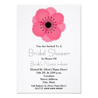 "Hot Pink French Anemone Bridal Shower Invitation 4.5"" X 6.25"" Invitation Card"