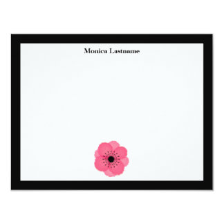 Hot Pink French Anemone Flat Notecards