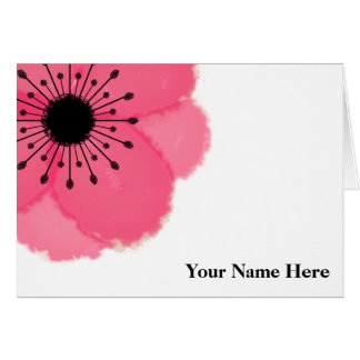 Hot Pink French Anemone Personalized Note Card