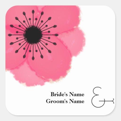 Hot Pink French Anemone Wedding Sticker