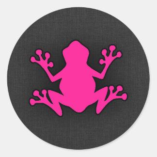 Hot Pink Frog Round Sticker