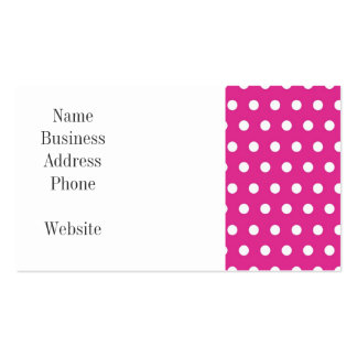 Hot Pink Fuchsia and White Polka Dots Pattern Gift Business Cards