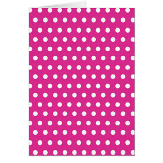 Hot Pink Fuchsia and White Polka Dots Pattern Gift Greeting Cards