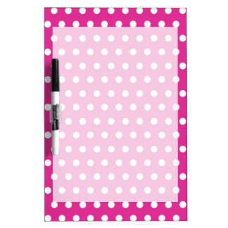 Hot Pink Fuchsia and White Polka Dots Pattern Gift Dry Erase Board