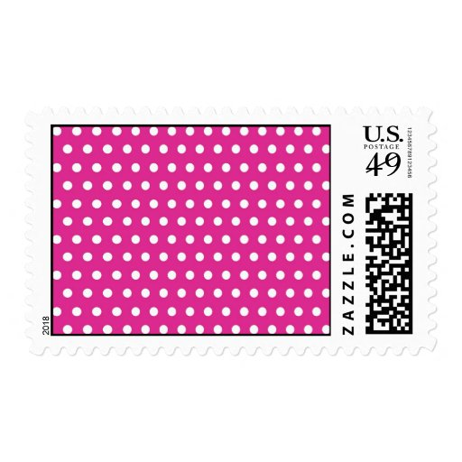 Hot Pink Fuchsia and White Polka Dots Pattern Gift Stamps