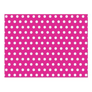 Hot Pink Fuchsia and White Polka Dots Pattern Gift Postcard