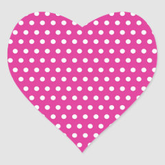 Hot Pink Fuchsia and White Polka Dots Pattern Gift Heart Stickers