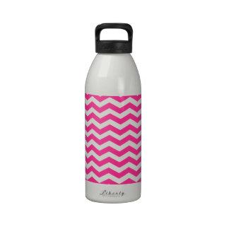 Hot Pink Fuchsia And White Zigzag Chevron Pattern Drinking Bottle