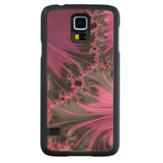 Hot Pink Fuchsia Black Swirl Feather Fractal Art Carved® Maple Galaxy S5 Case