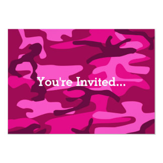 Hot Pink Fuchsia Camo Camouflage Girly Pattern Card
