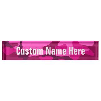 Hot Pink Fuchsia Camo Camouflage Girly Pattern Desk Nameplate