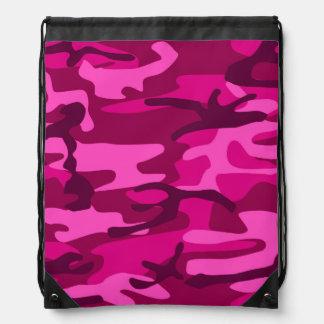 Hot Pink Fuchsia Camo Camouflage Girly Pattern Drawstring Backpack