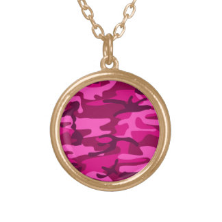 Hot Pink Fuchsia Camo Camouflage Girly Pattern Gold Plated Necklace