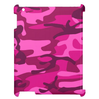 Hot Pink Fuchsia Camo Camouflage Girly Pattern iPad Cover