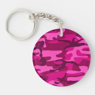 Hot Pink Fuchsia Camo Camouflage Girly Pattern Keychain