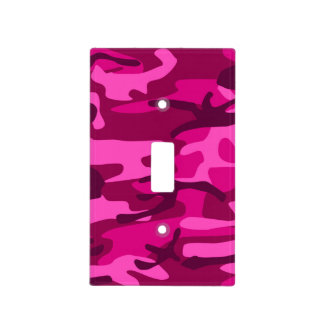 Hot Pink Fuchsia Camo Camouflage Girly Pattern Light Switch Cover