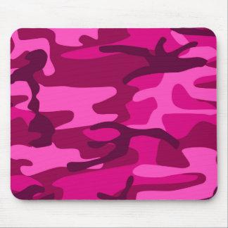 Hot Pink Fuchsia Camo Camouflage Girly Pattern Mouse Pad