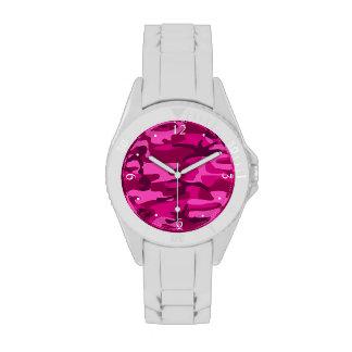 Hot Pink Fuchsia Camo Camouflage Girly Pattern Watches
