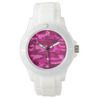 Hot Pink Fuchsia Camo Camouflage Girly Pattern Watch