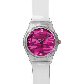 Hot Pink Fuchsia Camo Camouflage Girly Pattern Wrist Watch