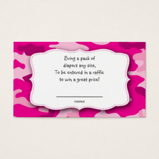 Hot Pink Fuchsia Camo raffle tickets insert cards