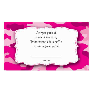 Hot Pink Fuchsia Camo raffle tickets insert cards Business Card