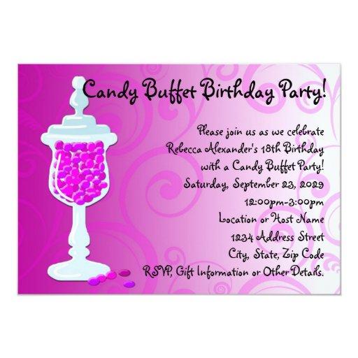 Hot Pink Fuchsia Candy Buffet 5x7 Paper Invitation Card