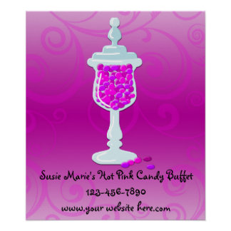 Hot Pink Fuchsia Candy Buffet Posters