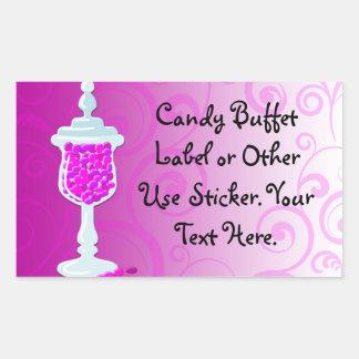 Hot Pink Fuchsia Candy Buffet Rectangular Sticker