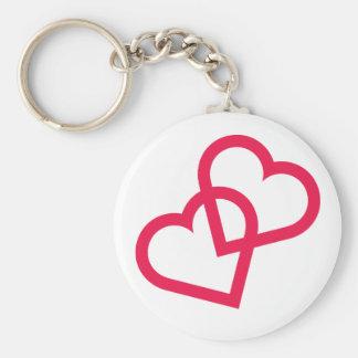 Hot Pink Fuchsia Double Hearts Wedding Keychain