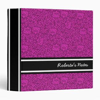 Hot Pink Fuchsia Floral Pattern Binder