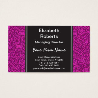 Hot Pink Fuchsia Floral Pattern Business Card