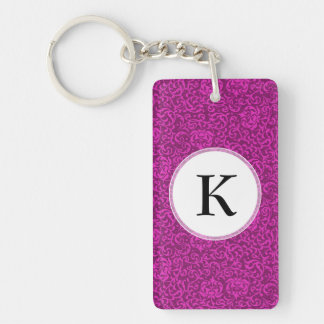 Hot Pink Fuchsia Floral Pattern Keychain