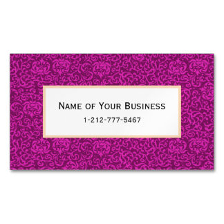 Hot Pink Fuchsia Floral Pattern Magnetic Business Card