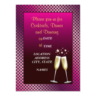 Hot Pink Fuchsia Formal Cocktail Party Invitation