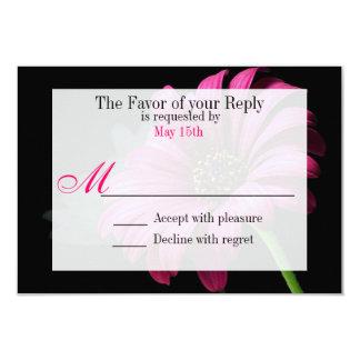 Hot Pink Fuchsia Gerber Daisy Flower Wedding RSVP Custom Invites