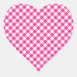Hot Pink Fuchsia Gingham Checkered pattern Heart Sticker