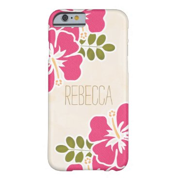 Beach Themed HOT PINK FUCHSIA HIBISCUS BARELY THERE iPhone 6 CASE